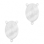 Stainless steel charms connector saint Silver