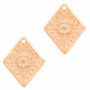DQ European metal charms flower rhombus Rose Gold (nickel free)