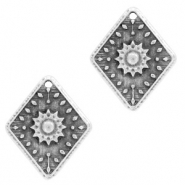 DQ European metal charms flower rhombus Antique Silver (nickel free)
