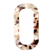 Resin pendants oblong oval 56x30mm Mixed Beige Brown