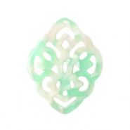 Resin pendants rhombus baroque Mixed Light Green