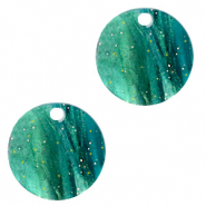 Resin pendants round 12mm Ocean Green