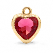 Crystal glass charms heart Indian Pink-Gold