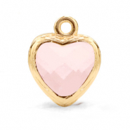 Crystal glass charms heart Rose Alabaster-Gold