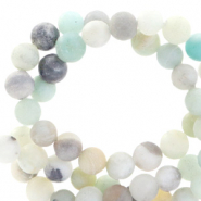 Semi-precious stone beads round 8mm aventurine quartz matt Multicolour blue-grey