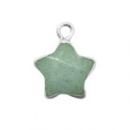Natural stone charms star Ocean Green-Silver