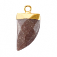 Natural stone charms tooth Hawthorn Rose-Gold