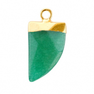 Natural stone charms tooth Quetzal Green-Gold