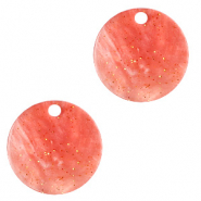 Resin pendants round 12mm Coral Red