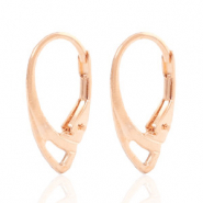 Findings TQ metal earrings closable oval Light Rose Gold