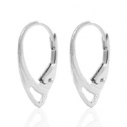 Findings TQ metal earrings closable oval Antique Silver