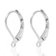 Findings TQ metal earrings closable Antique Silver