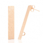 Findings TQ metal earrings rectangle 1 loop Light Rose Gold