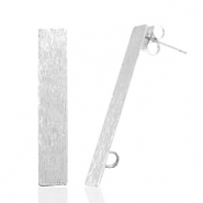 Findings TQ metal earrings rectangle 1 loop Antique Silver
