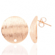Findings TQ metal earrings round 18mm 1 eye Light Rose Gold