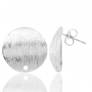 Findings TQ metal earrings round 18mm 1 eye Antique Silver