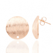 Findings TQ metal earrings round 15mm 1 eye Light Rose Gold
