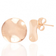 Findings TQ metal earrings round 12mm 1 eye Light Rose Gold