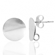 Findings TQ metal earrings round 12mm 1 loop Antique Silver