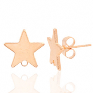 Findings TQ metal earrings star 1 loop Light Rose Gold