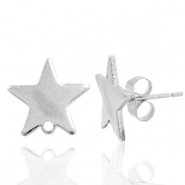 Findings TQ metal earrings star 1 loop Antique Silver
