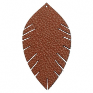 Faux leather pendants leaf large Chocolate Brown