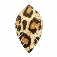 Faux leather pendants leaf medium leopard Beige-Brown