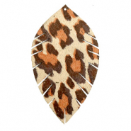 Faux leather pendants leaf large leopard Beige-Red Brown