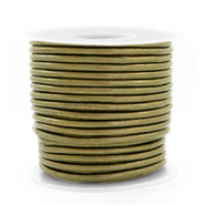 DQ leather round 2 mm Olive Green Metallic