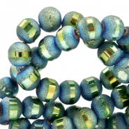 6 mm glass beads mat holographic line Dark Blue
