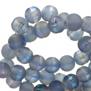 4 mm glass beads mat holographic line Blue Grey