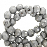 4 mm glass beads mat holographic line Grey Silver
