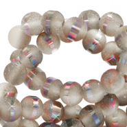8 mm glass beads mat holographic line Grey