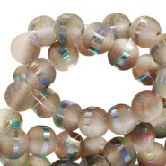 8 mm glass beads mat holographic line Champagne Grey
