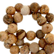 Round semi-precious agate stones 6mm matt Natural brown