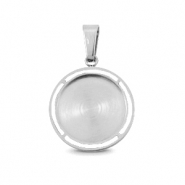 Polaris Steel charm with setting for 12mm cabochon Silver