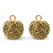 Pompom charms with loop glitter 12mm Rich Gold-Gold