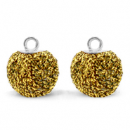 Pompom charms with loop glitter 12mm Bright Gold-Silver