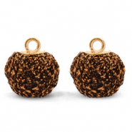 Pompom charms with loop glitter 12mm Dark Brown-Gold