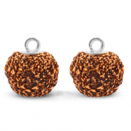 Pompom charms with loop glitter 12mm Rust Brown-Silver