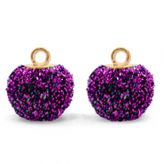 Pompom charms with loop glitter 12mm Acai Purple-Gold