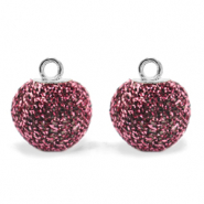 Pompom charms with loop glitter 12mm Hawthorn Rose-Silver