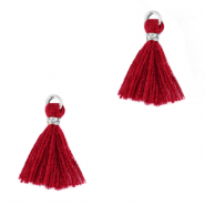 Tassels 1.5cm Silver-Ruby Wine Red