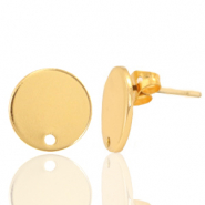 DQ European metal findings earpin round 12mm Gold (nickel free)