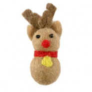 Charm with 1 eye felt reinreindeer Light Brown-Red
