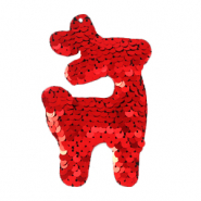 Charm with 1 eye sequin reindeer Red