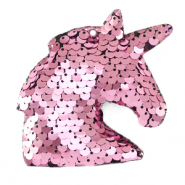 Charm with 1 eye sequin unicorn Pink