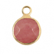 Natural stone charms 10mm Fruit Dove Pink-Gold