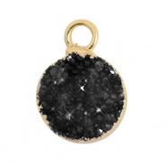 Natural stone charms crystal quartz 10mm Black-Gold