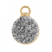 Natural stone charms crystal quartz 10mm Silver-Gold